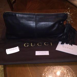 Gucci Sienna Black Tassel Clutch-100% Authentic